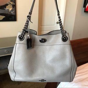 Coach Leather Turnlock Edie Shoulder Bag